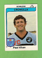 1980  CRONULLA  SHARKS  SCANLENS RUGBY LEAGUE  CARD #140  PAUL KHAN