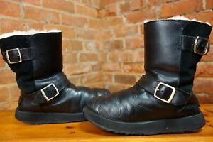"UGG® Australia ""Kensington"" black Leather/suede Sheepskin linned Buckles £240.00"