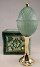 Vtg 1968 Avon Green Regence Tall Pedestal Candle Holder w/ Lid Gold Base & Box