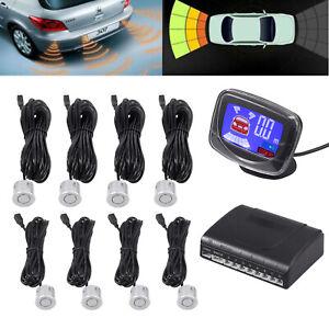 Front Rear Car Reverse 8 Silver Parking Sensors Kit Alarm Buzzer System +Display