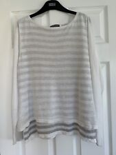 Mint Velvet 18 Linen Top Grey White