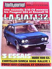 >L'AUTO-JOURNAL n°5 de 3/1972  La Fiat 132 menace la 504 et R 16 / Caravanes