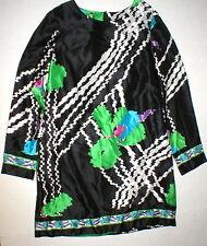 New Womens M 10 12 NWT Designer Silk Italy Shift Dress Alice San Diego 46 Black