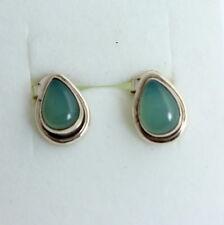 Calcedonia Enchufe de oído en plata 925 Gema ,PENDIENTES,edelsteinl,azul,NUEVO