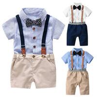 Toddler Baby Boys Summer Gentleman Bowtie Short Sleeve Shirt+Suspenders Shorts