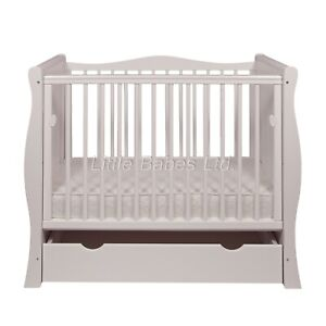 New Tia Mini Cot White Small Cot Space Saver Cot with Drawer & Optional Mattress