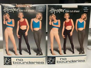 2 pr No Boundaries Hipster Low Rise Sheer to Waist - Large- Brown, Natural