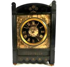 Antique French Noir Ardoise & MARBLE CLOCK 8 Day Laiton Sonnerie Mouvement