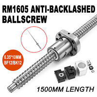 1 set RM1605--1500mm Anti-backlashed Ballscrew BF12/BK12 Approve Honor 6.35*10mm