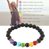 Men Women 7 Chakra Healing Beaded Diffuser Lava Stone Bracelet Yoga Reiki Prayer