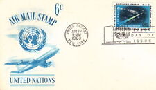 1963 UNITED NATIONS FDC CACHET POSTCARD - AIR MAIL