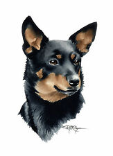 Lancashire Heeler Watercolor Dog 8 x 10 Art Print by Artist Djr