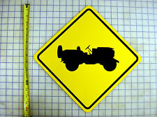 WWII WILLYS JEEP CROSSING YELLOW ALUMINUM SIGN