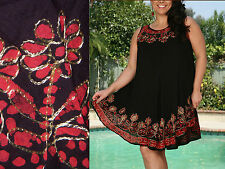 One Size Dress Cover-Up Black Red Embroidery Floral Slvless Casual NWT M,L,XL,1X