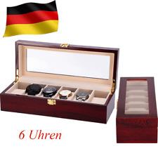 Holz Wood  Uhrenbox Uhrenkoffer Für 6 Uhren Uhrentruhe Uhrenkasten Uhrenschatull