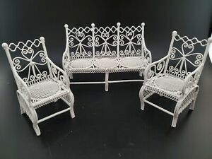 Vintage Dollhouse Miniatures Furniture White Metal Wicker Bench Couch and Chairs