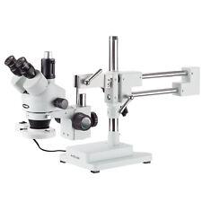 Amscope 7x 45x Trinocular Stereo Boom Zoom Microscope Fluorescent Ring Light