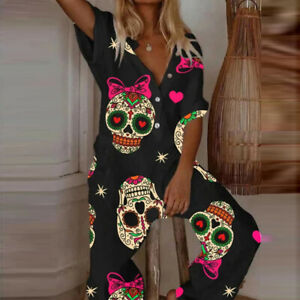 Sexy Women Ladies Gothic Shirt Skull Sleeveless Jumpsuits Summer Playsuit E5062