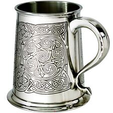 Tankard Pewter All Over Celtic Spiral Pattern 1pt Ornate Handle Ideal Gift