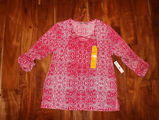 NWT Womens Larry Levine Pink Snake Print Peasant Shirt Size L Large