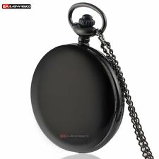 Black Smooth Style Quartz Necklace Pendant Pocket Watch Retro Chain Gift Vintage