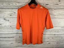 Adidas Mens Orange Techfit Compression Short Sleeve Shirt Size Xl X-Large Nwt