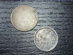 🇨🇦 Canada 10 Cents 1898KM-3 &   5 Cents  1896 KM-2  Silver 0.925  090321-2