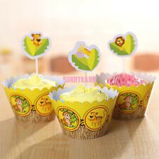 24pcs Jungle Animal Safari Zoo Cupcake Toppers + Wrappers Birthday Party