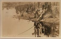 Real Photo RPPC ~ Man Fishing ~ Lazy Bones Okeefenokee Swamp Park Waycross GA