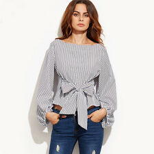 Fashion Women Loose Long Sleeve Striped Casual Blouse Shirt Tops T-shirt Blouses