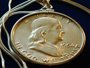 "Mint 1954 Ben Franklin Half Dollar Pendant w/ 18"" 925 Italian Silver Snake Chain"