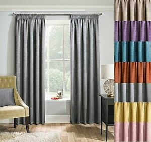 MATRIX Woven Textured THERMAL BLOCKOUT Tap Top Pencil Pleat Curtains