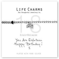 Life Charms You Are 18 Silver Plated Bracelet 18th Birthday Gift Free Gift Box