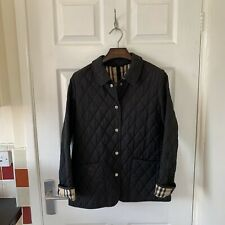 Women's BURBERRY Quilted Jacket Coat Black Size Medium M Nova Check