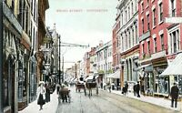 Broad Street Worcester postcard antique colour printed history horse & carts