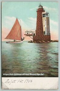 Cape Cod Massachusetts~Bishop & Clark Lighthouse Off Point Gammon~c1905 Postcard