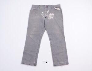 Vintage 80s Rustler Mens 38x29 Thrashed Bootcut Denim Jeans Pants Gray USA Made
