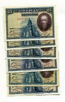 LOTE 6 BILLETES 25 PESETAS 1928  5 serie diferente 1 sin serie ,   5  EBC 1 MBC