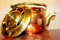 AN ANTIQUE RARE FRENCH VINTAGE COPPER/ BRASS KETTLE-TEAPOT IN GREAT CONDITION