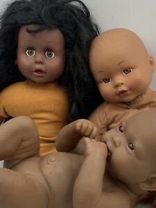 Lot of Vintage African American Dolls Berenguer Lots To Love Simba Cititoy Lot F