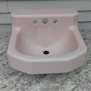 Vintage 1958 Kohler Pink Porcelain on Cast Iron Bathroom Sink 19x17 Wall Mount