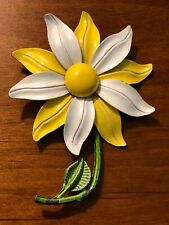 Vintage Mod 1960s Yellow & White Enamel Daisy Flower Pin Brooch