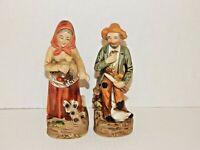 Set 2 Older Country Folk People Figurines HOME INTERIORS Porcelain Fruit Gather