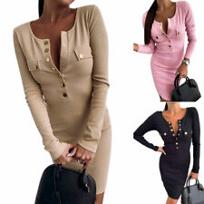 Women V Neck Bodycon Mini Dress Ladies Long Sleeve Buttons Casual Party Dresses