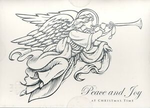 16 ct CHRISTMAS CARDS & ENVELOPES ANGEL BLOWING TRUMPET PEACE & JOY  NEW IN BOX