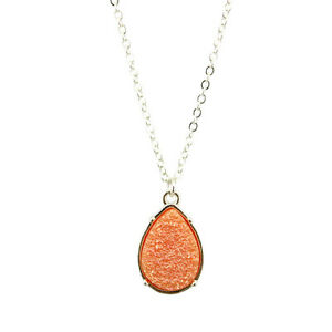 Fashion Silver Plated Long Chain Necklace Resin Druzy Teardrop Pendant Necklace