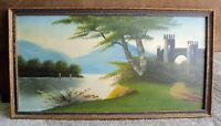 """Vtg Original Oil PAINTING Landscape CASTLE by LAKE on Board Old Frame 11"""" x 21"""""""