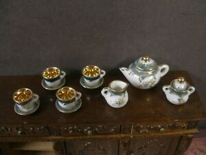 11 PIECE ~ PORCELAIN TEA SET ~ Dollhouse ~ England ~1:12 scale ~ Marked ~ Artist