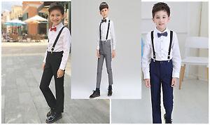 4Pcs Formal Boy Kids Suit Set Outfits Wedding Party Outfits Pants+Shirt+Bowtie