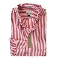 J.Crew - Mens L - Classic Fit - NWT - Red/White Striped Secret Wash Shirt